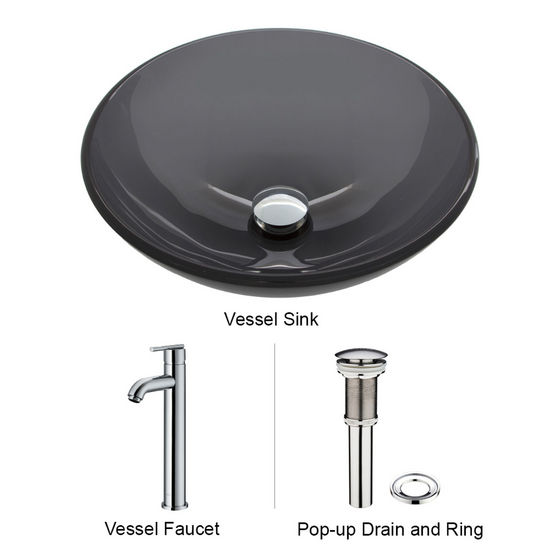 "Vigo VIG-VGT256, Sheer Black Glass Vessel Sink and Faucet Set in Chrome, 16-1/2"" Diameter x 6"" H"