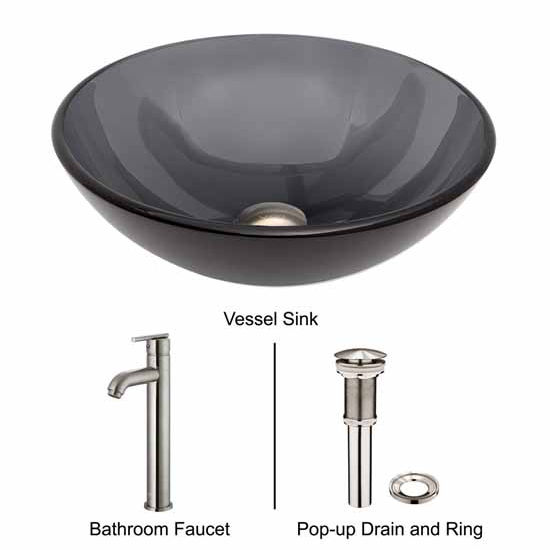 Vigo VIG-VGT257, Sheer Black Glass Vessel Sink and Faucet Set in Brushed Nickel