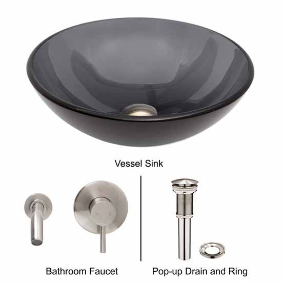 Vigo VIG-VGT260, Sheer Black Glass Vessel Sink and Wall Mount Faucet Set in Brushed Nickel