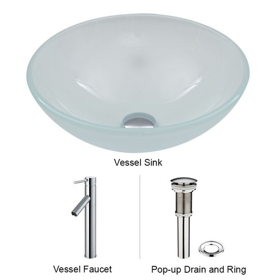 "Vigo VIG-VGT263, White Frost Vessel Sink and Faucet Set in Chrome, 16-1/2"" Diameter x 6"" H"