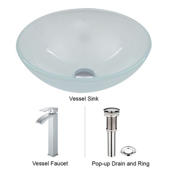"Vigo VIG-VGT265, White Frost Vessel Sink and Faucet Set in Chrome, 16-1/2"" Diameter x 6"" H"