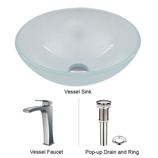 "Vigo VIG-VGT267, White Frost Vessel Sink and Faucet Set in Chrome, 16-1/2"" Diameter x 6"" H"