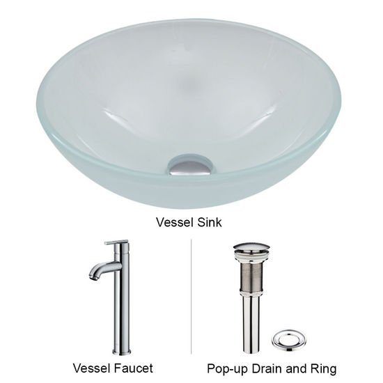 "Vigo VIG-VGT269, White Frost Vessel Sink and Faucet Set in Chrome, 16-1/2"" Diameter x 6"" H"