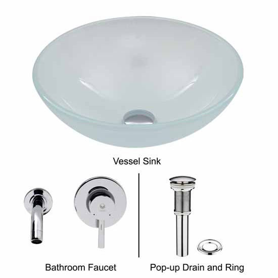 Vigo VIG-VGT272, White Frost Vessel Sink and Wall Mount Faucet Set in Chrome