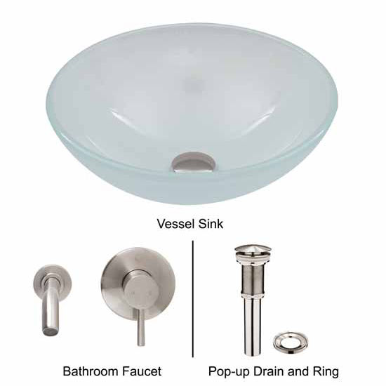 Vigo VIG-VGT273, White Frost Vessel Sink and Wall Mount Faucet Set in Brushed Nickel