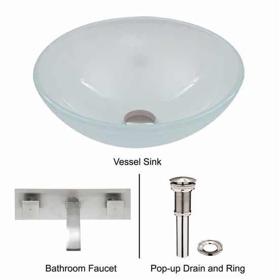 Vigo VIG-VGT275, White Frost Vessel Sink and Wall Mount Faucet Set in Brushed Nickel