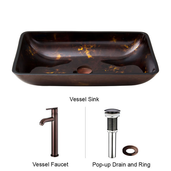 "Vigo VIG-VGT276, Rectangular Brown and Gold Fusion Glass Vessel Sink and Faucet Set in Oil Rubbed Brozne, 22-1/4"" W x 14-1/2"" D x 4-1/2"" H"