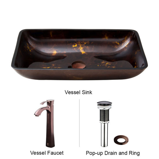 "Vigo VIG-VGT277, Rectangular Brown and Gold Fusion Glass Vessel Sink and Faucet Set in Oil Rubbed Brozne, 22-1/4"" W x 14-1/2"" D x 4-1/2"" H"
