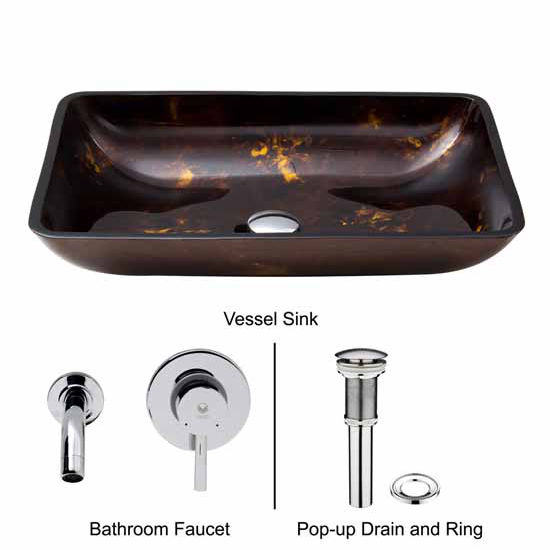 Vigo VIG-VGT278, Rectangular Brown and Gold Fusion Glass Vessel Sink and Wall Mount Faucet Set in Chrome