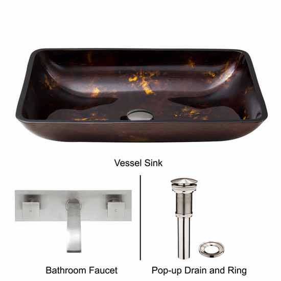 Vigo VIG-VGT282, Rectangular Brown and Gold Fusion Glass Vessel Sink and Wall Mount Faucet Set in Brushed Nickel