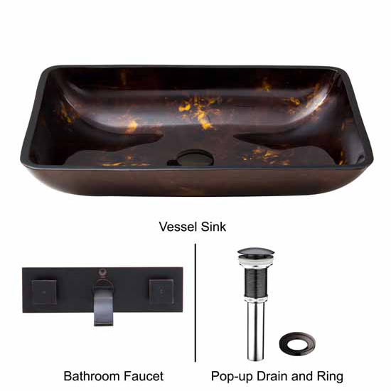 Vigo VIG-VGT283, Rectangular Brown and Gold Fusion Glass Vessel Sink and Wall Mount Faucet Set in Antique Rubbed Bronze