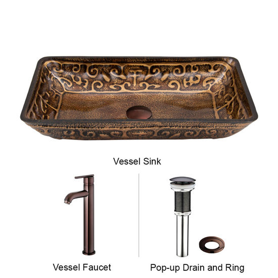 "Vigo VIG-VGT284, Rectangular Golden Greek Glass Vessel Sink and Faucet Set in Oil Rubbed Bronze, 22-1/4"" W x 14-1/2"" D x 4-1/2"" H"