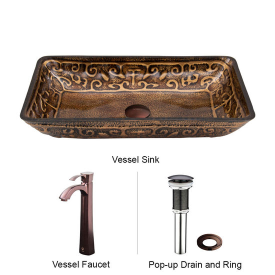 "Vigo VIG-VGT285, Rectangular Golden Greek Glass Vessel Sink and Faucet Set in Oil Rubbed Bronze, 22-1/4"" W x 14-1/2"" D x 4-1/2"" H"