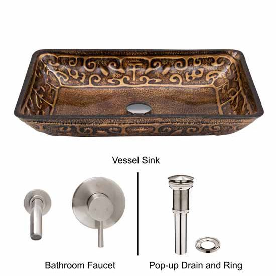 Vigo VIG-VGT287, Rectangular Golden Greek Glass Vessel Sink and Wall Mount Faucet in Brushed Nickel