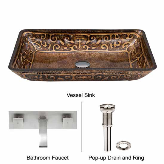 Vigo VIG-VGT290, Rectangular Golden Greek Glass Vessel Sink and Wall Mount Faucet in Brushed Nickel
