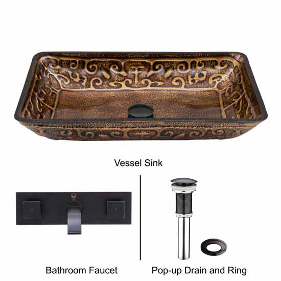 Vigo VIG-VGT291, Rectangular Golden Greek Glass Vessel Sink and Wall Mount Faucet in Antique Rubbed Bronze