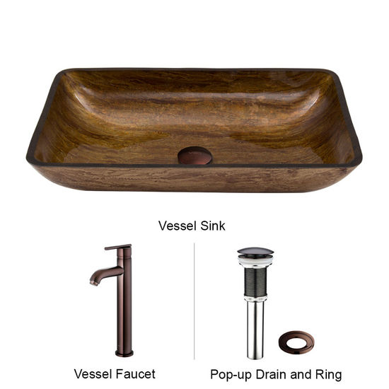 "Vigo VIG-VGT292, Rectangular Amber Sunset Glass Vessel Sink and Faucet Set in Oil Rubbed Bronze, 22-1/4"" W x 14-1/2"" D x 4-1/2"" H"