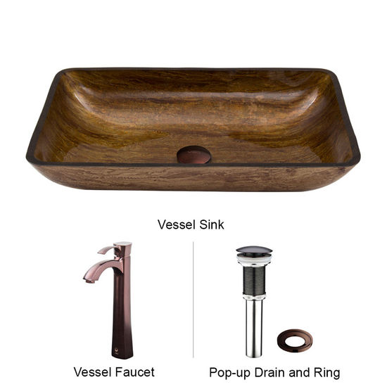 "Vigo VIG-VGT293, Rectangular Amber Sunset Glass Vessel Sink and Faucet Set in Oil Rubbed Bronze, 22-1/4"" W x 14-1/2"" D x 4-1/2"" H"