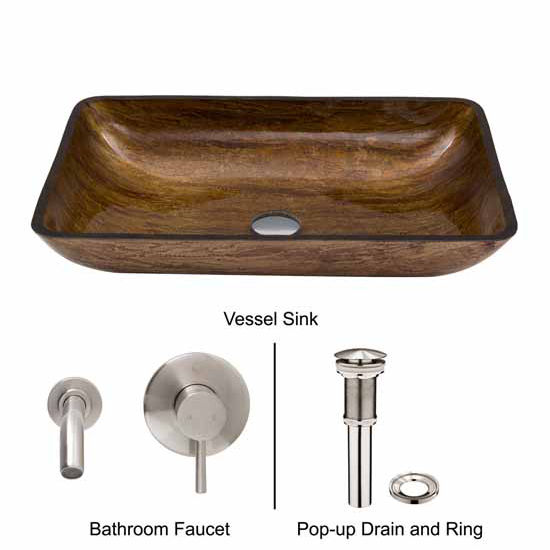 Vigo VIG-VGT295, Rectangular Amber Sunset Glass Vessel Sink and Wall Mount Faucet Set in Brushed Nickel