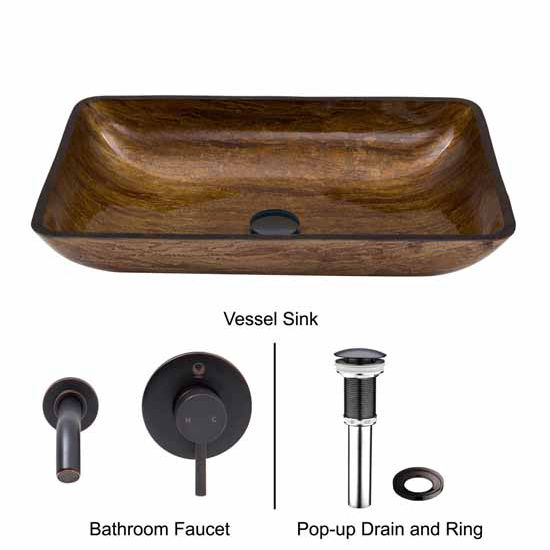 Vigo VIG-VGT296, Rectangular Amber Sunset Glass Vessel Sink and Wall Mount Faucet in Antique Rubbed Bronze
