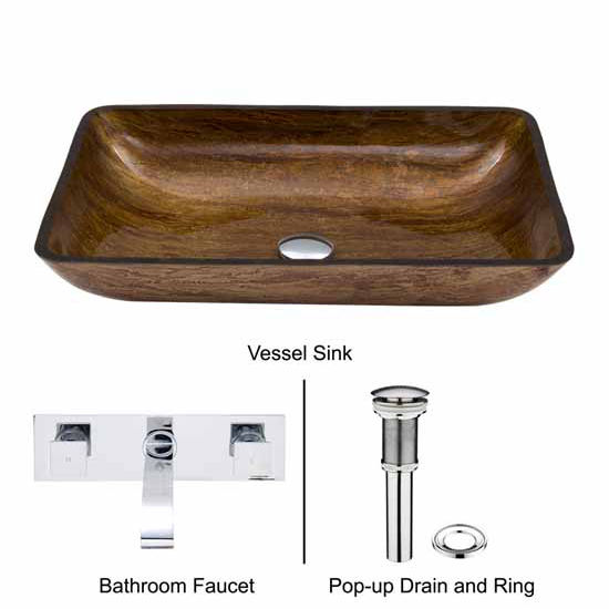 Vigo VIG-VGT297, Rectangular Amber Sunset Glass Vessel Sink and Wall Mount Faucet Set in Chrome