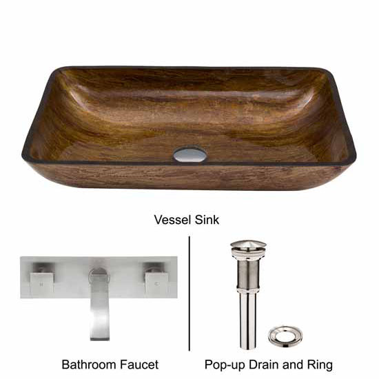 Vigo VIG-VGT298, Rectangular Amber Sunset Glass Vessel Sink and Wall Mount Faucet Set in Brushed Nickel