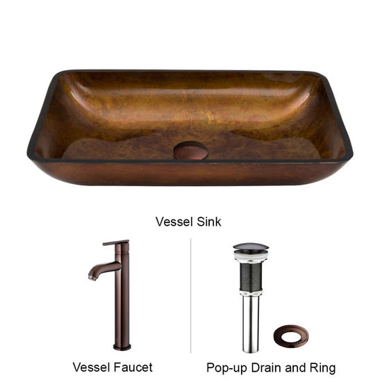 "Vigo VIG-VGT300, Rectangular Russet Glass Vessel Sink and Faucet Set in Oil Rubbed Bronze, 22-1/4"" W x 14-1/2"" D x 4-1/2"" H"