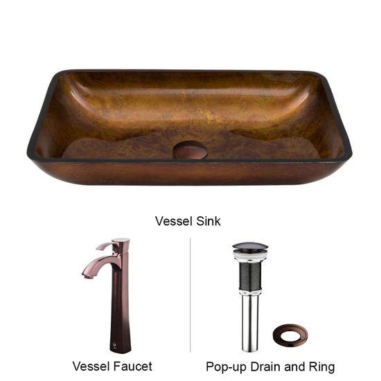 "Vigo VIG-VGT301, Rectangular Russet Glass Vessel Sink and Faucet Set in Oil Rubbed Bronze, 22-1/4"" W x 14-1/2"" D x 4-1/2"" H"