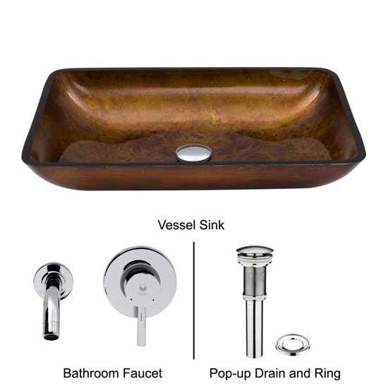 Vigo VIG-VGT302, Rectangular Russet Glass Vessel Sink and Wall Mount Faucet Set in Chrome