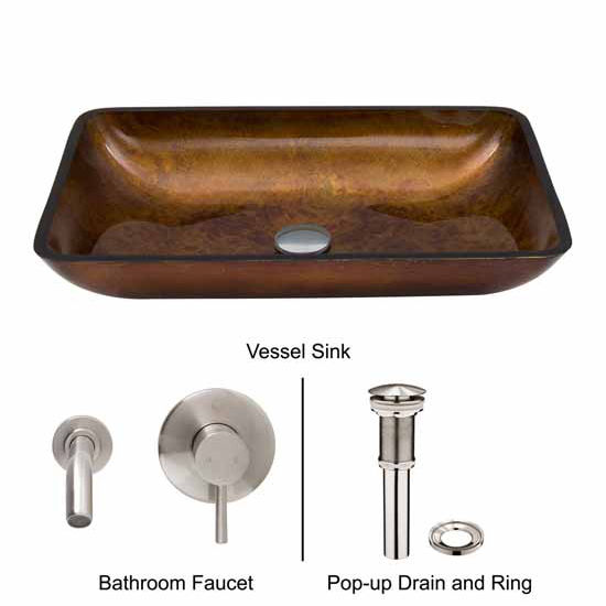 Vigo VIG-VGT303, Rectangular Russet Glass Vessel Sink and Wall Mount Faucet Set in Brushed Nickel