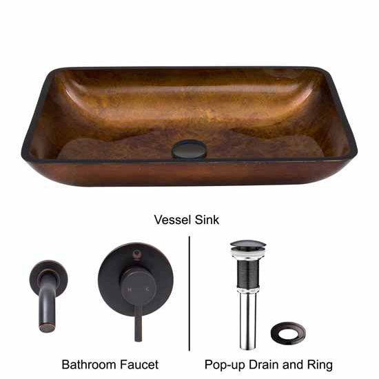 Vigo VIG-VGT304, Rectangular Russet Glass Vessel Sink and Wall Mount Faucet Set in Antique Rubbed Bronze