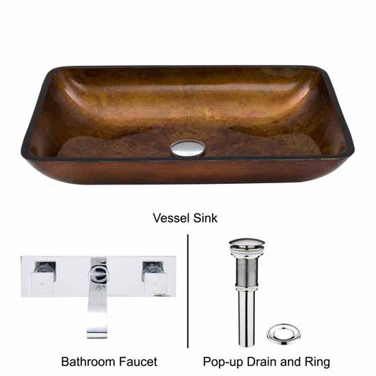 Vigo VIG-VGT305, Rectangular Russet Glass Vessel Sink and Wall Mount Faucet Set in Chrome