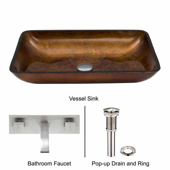 Vigo VIG-VGT306, Rectangular Russet Glass Vessel Sink and Wall Mount Faucet Set in Brushed Nickel