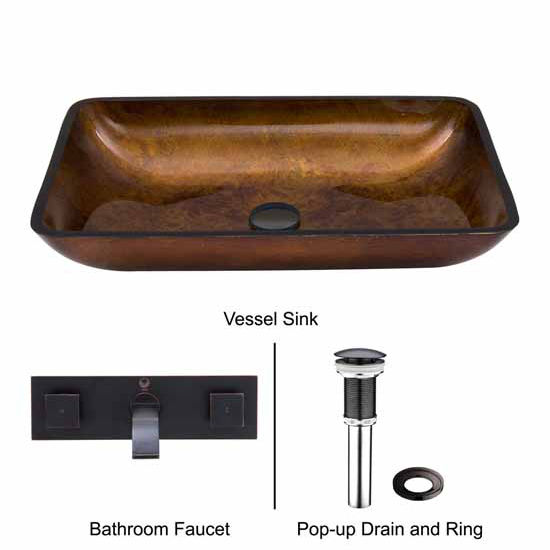 Vigo VIG-VGT307, Rectangular Russet Glass Vessel Sink and Wall Mount Faucet Set in Antique Rubbed Bronze