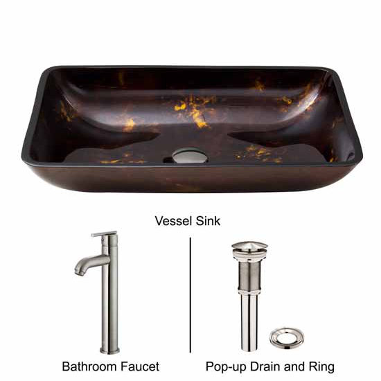 Vigo VIG-VGT308, Rectangular Brown and Gold Fusion Glass Vessel Sink and Faucet Set in Brushed Nickel