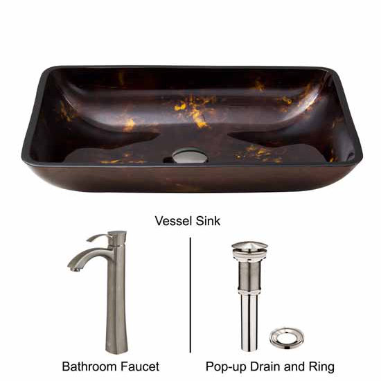 Vigo VIG-VGT309, Rectangular Brown and Gold Fusion Glass Vessel Sink and Otis Faucet Set in Brushed Nickel