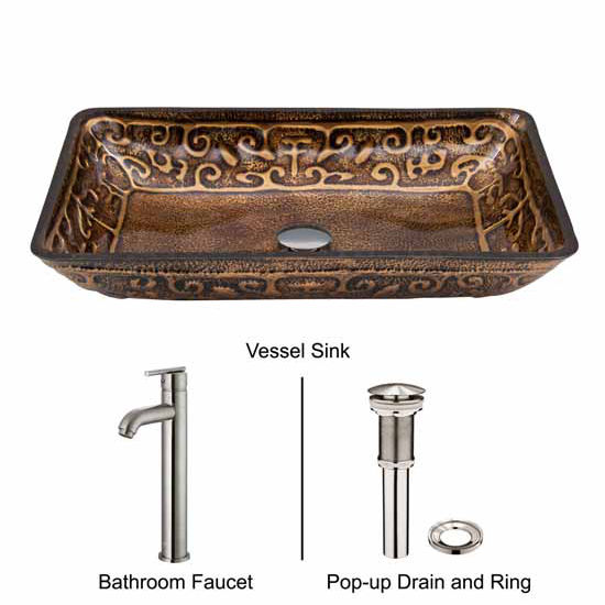 Vigo VIG-VGT310, Rectangular Golden Greek Glass Vessel Sink and Faucet Set in Brushed Nickel