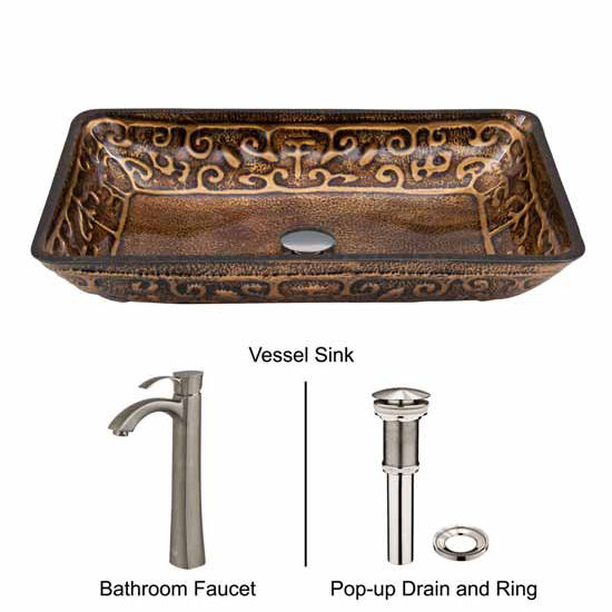 Vigo VIG-VGT311, Rectangular Golden Greek Glass Vessel Sink and Otis Faucet Set in Brushed Nickel