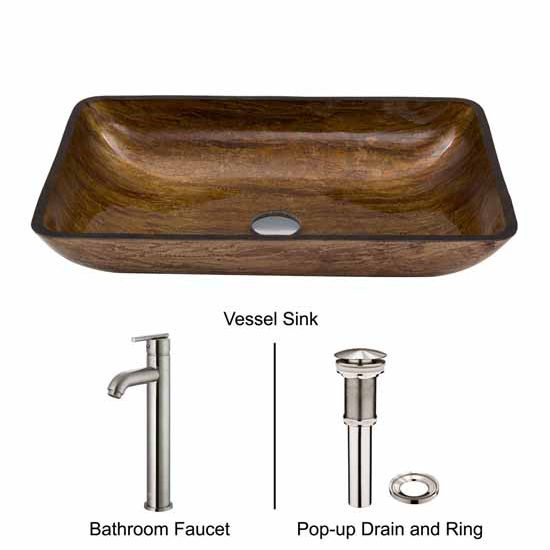 Vigo VIG-VGT312, Rectangular Amber Sunset Glass Vessel Sink and Faucet Set in Brushed Nickel