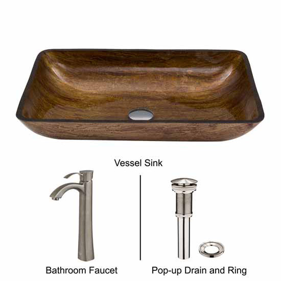Vigo VIG-VGT313, Rectangular Amber Sunset Glass Vessel Sink and Otis Faucet Set in Brushed Nickel