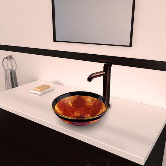 Vigo VIG-VGT318, Auburn/Mocha Fusion Glass Vessel Sink and Seville Faucet Set in Oil Rubbed Bronze