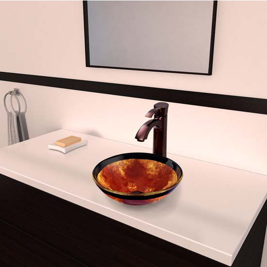Vigo VIG-VGT319, Auburn/Mocha Fusion Glass Vessel Sink and Otis Faucet Set in Oil Rubbed Bronze