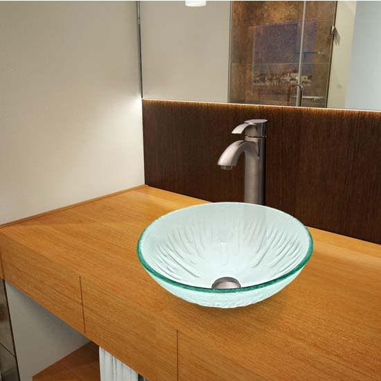 Vigo VIG-VGT322, Icicles Glass Vessel Sink and Otis Faucet Set in Brushed Nickel