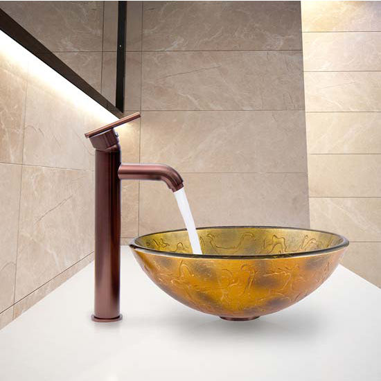 Vigo VIG-VGT334, Copper Shapes Glass Vessel Sink and Seville Faucet Set in Oil Rubbed Bronze