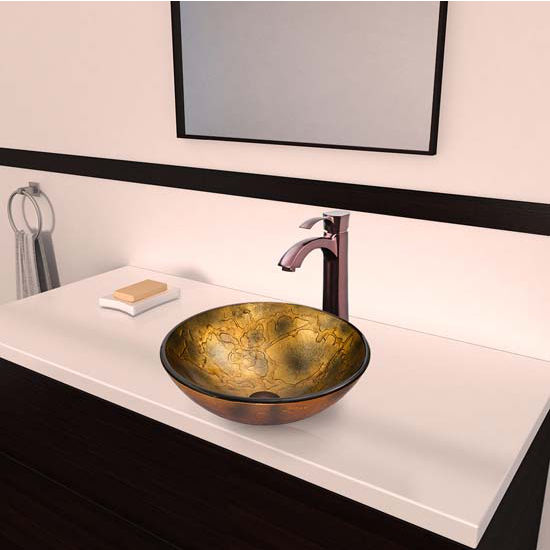 Vigo VIG-VGT335, Copper Shapes Glass Vessel Sink and Otis Faucet Set in Oil Rubbed Bronze