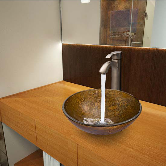 Vigo VIG-VGT337, Textured Copper Glass Vessel Sink and Otis Faucet Set in Brushed Nickel