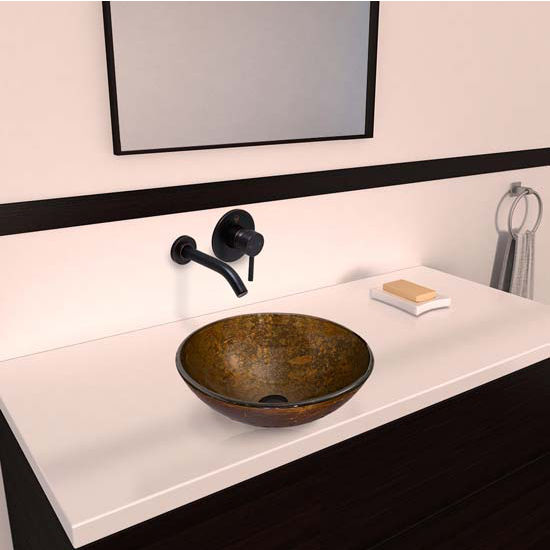 Vigo VIG-VGT338, Textured Copper Glass Vessel Sink and Olus Wall Mount Faucet Set in Antique Rubbed Bronze