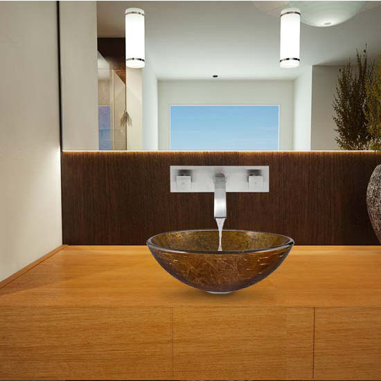 Vigo VIG-VGT339, Textured Copper Glass Vessel Sink and Titus Wall Mount Faucet Set in Brushed Nickel