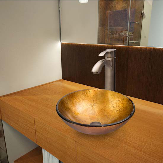 Vigo VIG-VGT340, Liquid Gold Glass Vessel Sink and Otis Faucet Set in Brushed Nickel