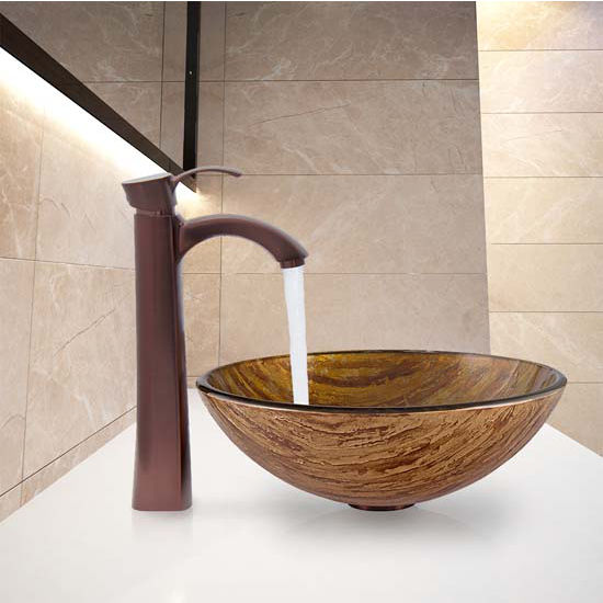Vigo VIG-VGT342, Amber Sunset Glass Vessel Sink and Otis Faucet Set in Oil Rubbed Bronze